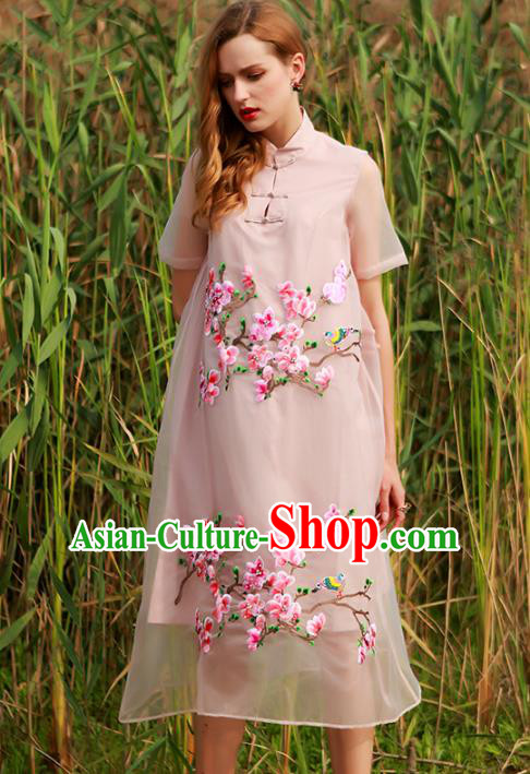 Chinese National Costume Embroidered Peach Blossom Cheongsam Pink Qipao Dress for Women