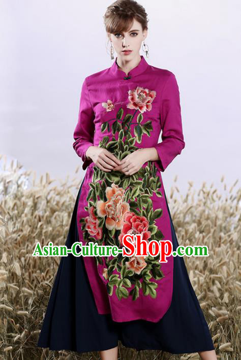 Chinese National Costume Embroidered Peony Cheongsam Purple Qipao Dress for Women