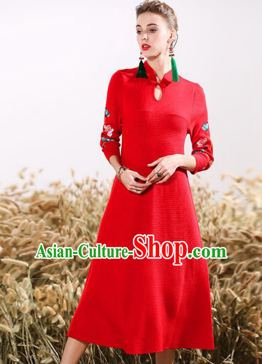 Chinese National Costume Embroidered Red Cheongsam Vintage Qipao Dress for Women
