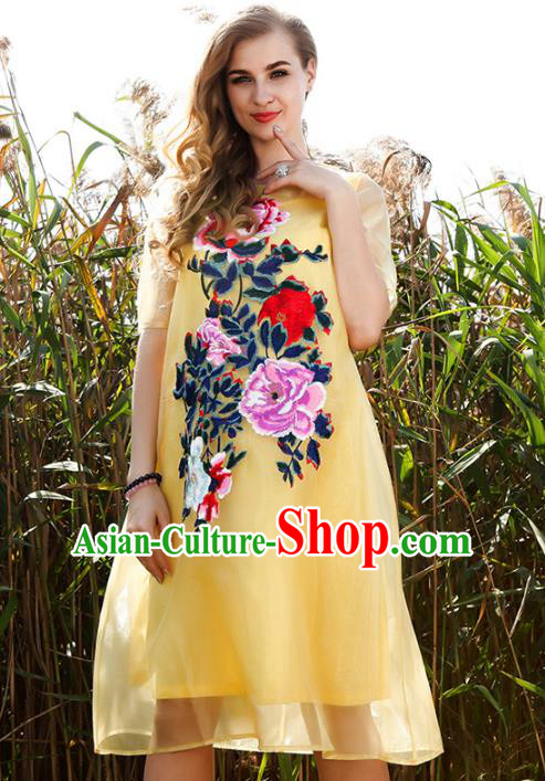 Chinese National Costume Yellow Organza Cheongsam Embroidered Peony Qipao Dress for Women