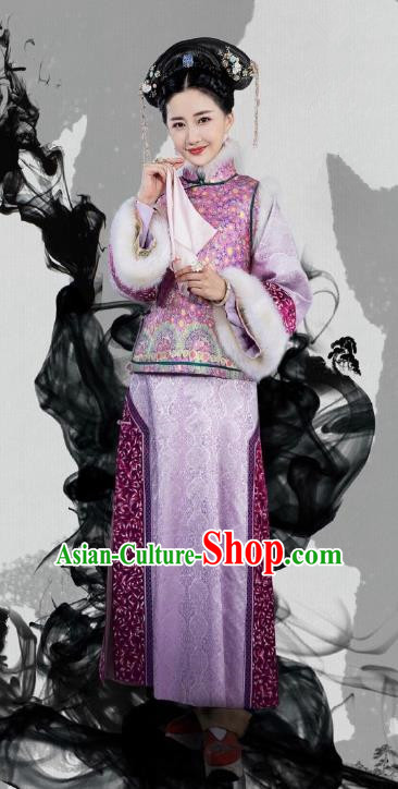 Chinese Traditional Manchu Lady Historical Costume China Qing Dynasty Nurhaci Imperial Concubine Embroidered Clothing