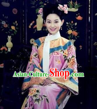 Chinese Ancient Shunzhi Imperial Concubine Historical Replica Costume China Qing Dynasty Manchu Palace Lady Embroidered Clothing