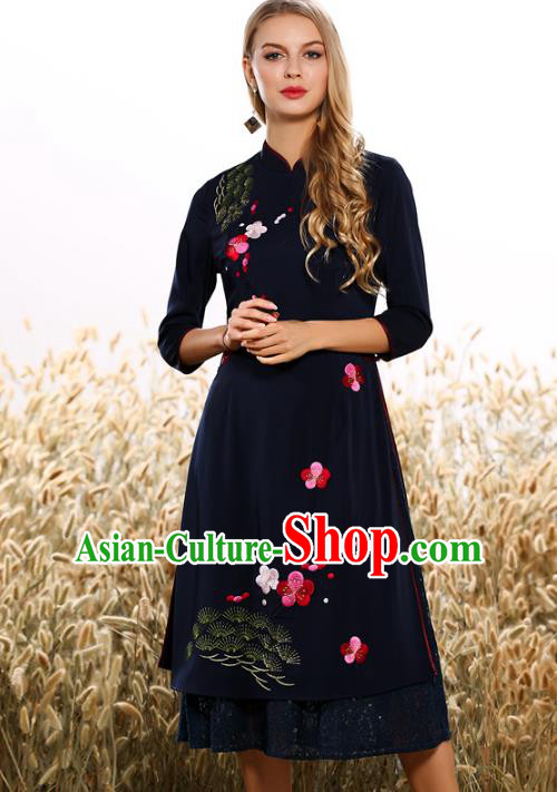 Chinese National Costume Tang Suit Navy Qipao Dress Traditional Embroidered Peach Blossom Cheongsam for Women