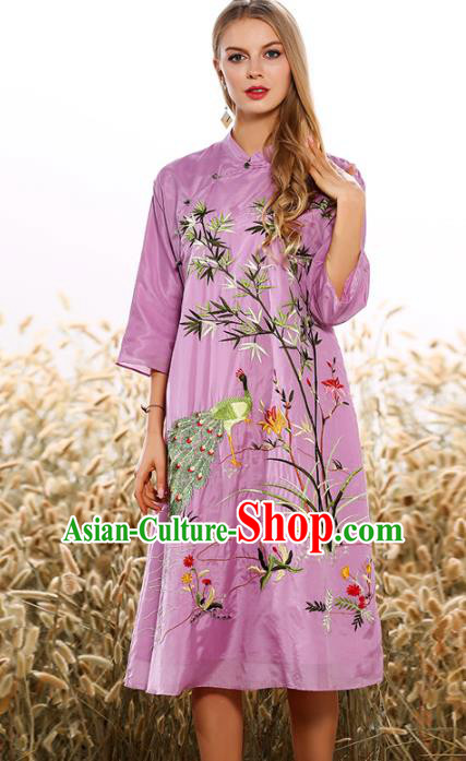 Chinese National Costume Tang Suit Purple Qipao Dress Traditional Embroidered Bamboo Cheongsam for Women