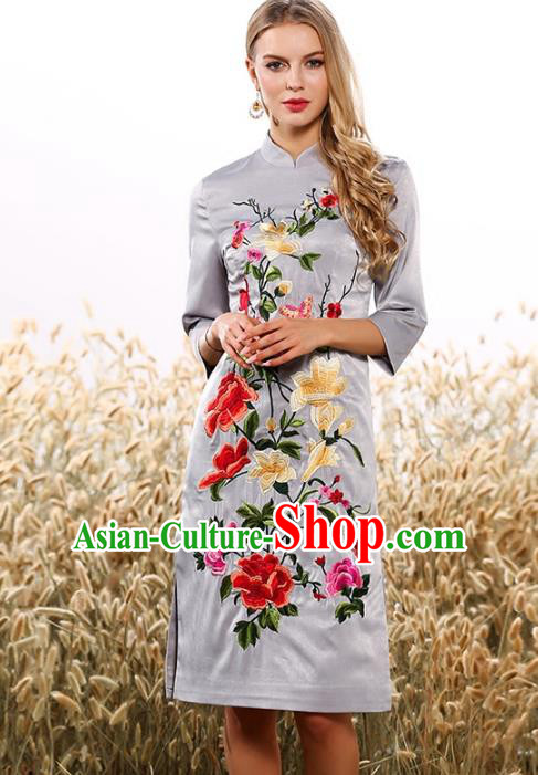 Chinese National Costume Tang Suit Grey Qipao Dress Traditional Embroidered Flowers Cheongsam for Women