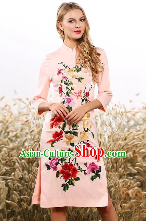 Chinese National Costume Tang Suit Pink Qipao Dress Traditional Embroidered Flowers Cheongsam for Women