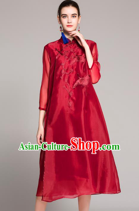 Chinese National Costume Tang Suit Red Qipao Dress Traditional Embroidered Cranes Cheongsam for Women