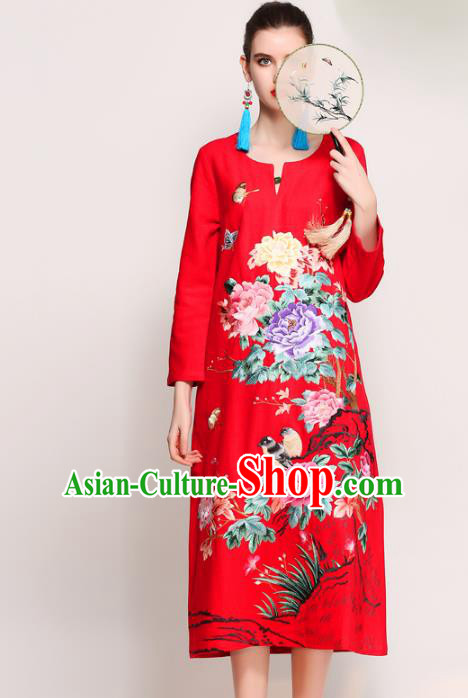 Chinese National Costume Tang Suit Red Qipao Dress Traditional Embroidered Peony Flowers Cheongsam for Women
