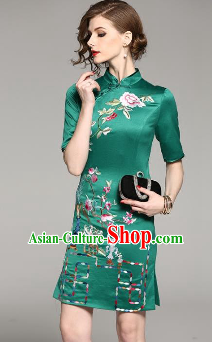 Chinese National Costume Tang Suit Silk Qipao Dress Traditional Embroidered Green Cheongsam for Women