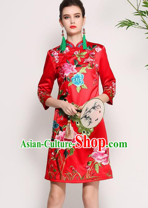 Chinese National Costume Tang Suit Red Silk Qipao Dress Traditional Embroidered Peony Cheongsam for Women