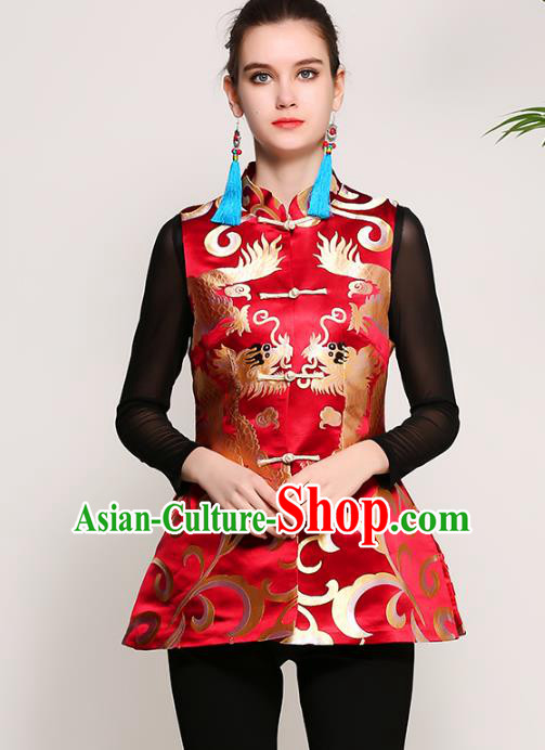 Chinese National Costume Tang Suit Red Vests Traditional Embroidered Waistcoat Upper Outer Garment for Women