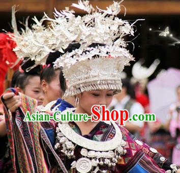 Traditional Chinese Miao Nationality Wedding Phoenix Coronet Hair Accessories Sliver Crown Headwear for Women