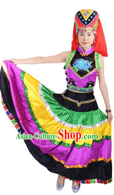 Traditional Chinese Yi Nationality Dance Costume, Female Folk Dance Ethnic Minority Pleated Skirt for Women