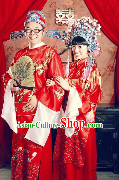 Traditional Chinese Beijing Opera Embroidered Wedding Costume Peking Opera Clothing and Headpiece Complete Set