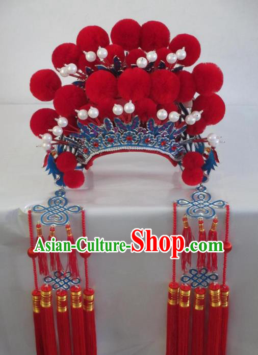 Traditional Chinese Beijing Opera Hair Accessories Red Pompon Phoenix Coronet Peking Opera Actress Headwear
