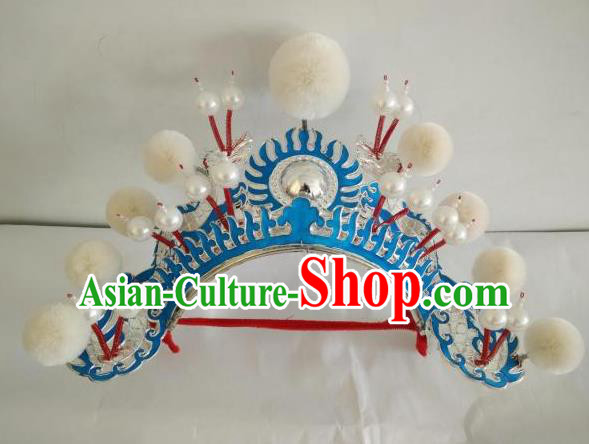 Traditional Chinese Beijing Opera Female Soldier White Venonat Helmet Peking Opera Actress Headwear