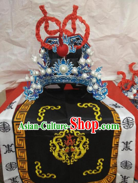 Traditional Chinese Beijing Opera General Black Hats Peking Opera Military Officer Headwear