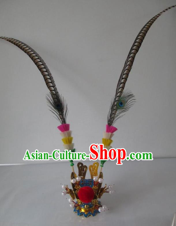 Traditional Chinese Beijing Opera Handsome Monkey King Sun Wukong Headwear Peking Opera Hair Accessories Gold Hat