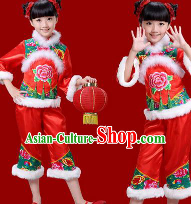 Traditional Chinese New Year Yangge Drum Dance Costume, Children Classical Yangko Dance Clothing for Kids