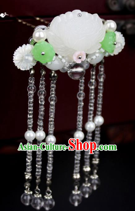 Chinese Ancient Handmade Hair Accessories Classical Hairpins Beads Tassel Lotus Hair Clips for Women