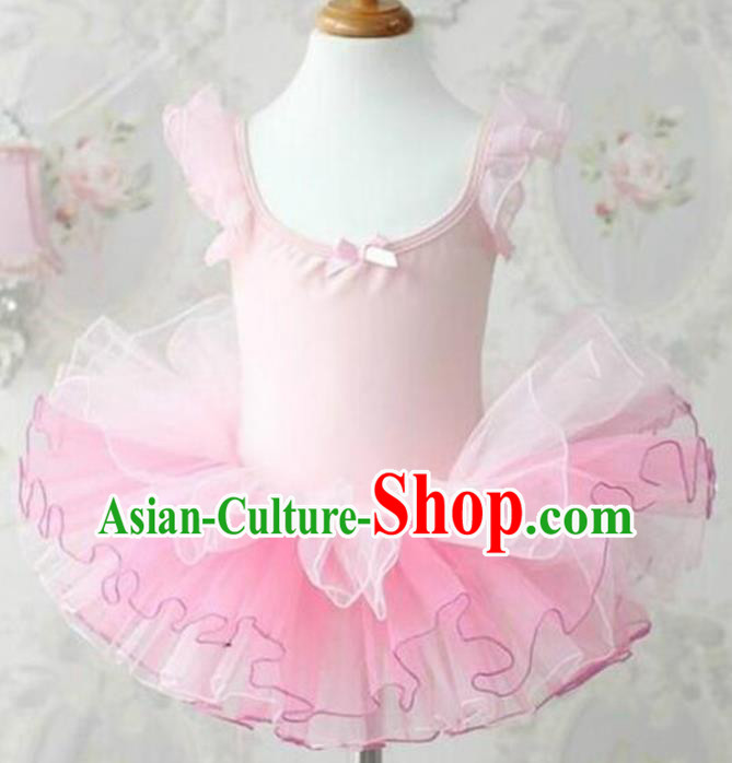 Top Grade Modern Dance Costume Stage Performance Ballet Dance Pink Bubble Dress for Kids