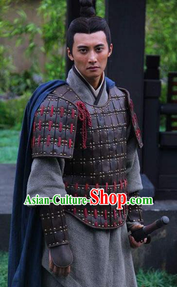 Traditional Ancient Chinese Han Dynasty General Li Yi Helmet and Armour Replica Costume for Men