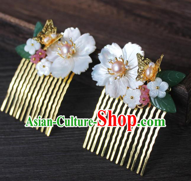 Chinese Ancient Handmade Hair Accessories Classical Hairpins Shell Flower Butterfly Hair Comb for Women