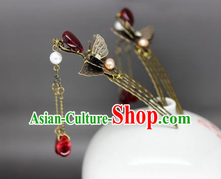 Chinese Ancient Handmade Hair Accessories Classical Red Crystal Tassel Hairpins Butterfly Hair Comb for Women