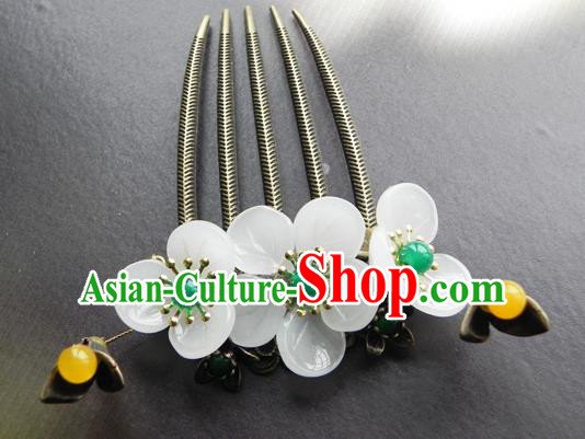 Chinese Ancient Handmade Hair Accessories Hairpins Classical Hanfu Green Beads Flowers Hair Comb for Women