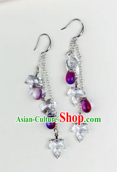 Chinese Ancient Handmade Accessories Purple Beads Tassel Earrings for Women