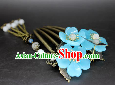 Chinese Ancient Handmade Hair Accessories Hairpins Classical Hanfu Blue Flowers Tassel Hair Comb for Women