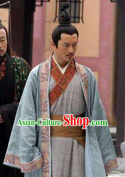 Traditional Chinese Ancient Han Dynasty Emperor Liu Che Replica Costume for Men
