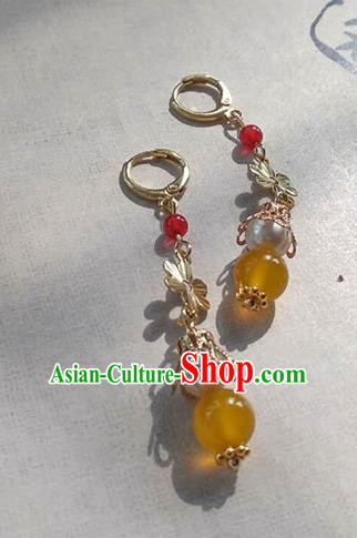 Chinese Ancient Handmade Accessories Hanfu Earrings Yellow Beads Tassel Eardrop for Women