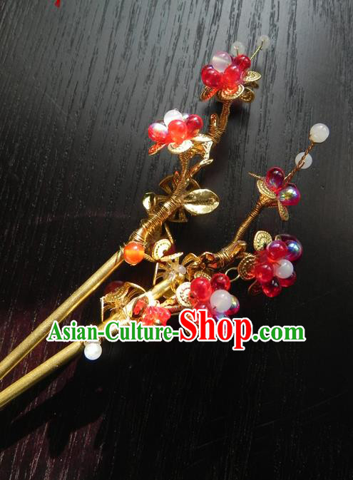 Chinese Handmade Ancient Hair Accessories Red Clubs Hair Clip Classical Hanfu Hairpins for Women
