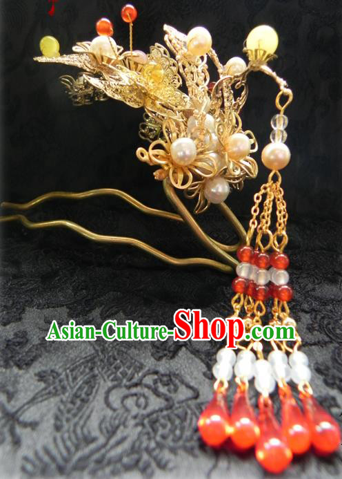 Chinese Handmade Ancient Red Beads Tassel Hairpins Hair Clip Classical Hanfu Hair Accessories for Women
