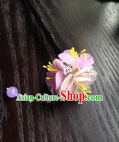 Chinese Ancient Hanfu Tassel Handmade Pink Flowers Hairpins Hair Accessories Hair Clip for Women
