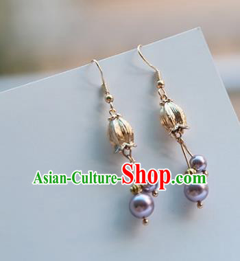 Chinese Handmade Ancient Jewelry Accessories Eardrop Hanfu Purple Beads Earrings for Women