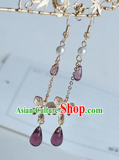 Chinese Handmade Ancient Jewelry Accessories Eardrop Hanfu Purple Beads Long Tassel Earrings for Women