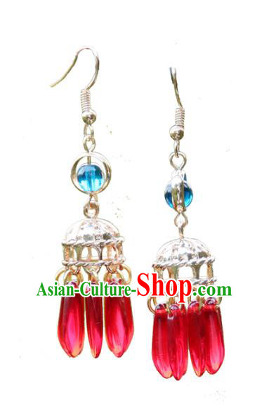 Chinese Handmade Ancient Jewelry Accessories Eardrop Hanfu Red Beads Long Tassel Earrings for Women