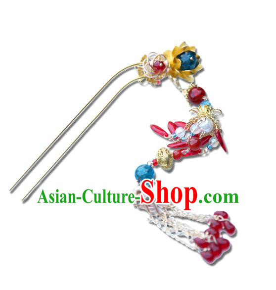 Chinese Ancient Handmade Hanfu Tassel Hairpins Palace Lady Hair Clips Hair Accessories for Women