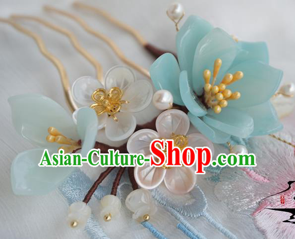 Chinese Ancient Handmade Hanfu Shell Flowers Hair Comb Hairpins Hair Accessories for Women