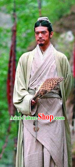 Chinese Ancient Three Kingdoms Period Shu State Prime Minister Zhuge Liang Historical Costume for Men