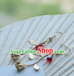 Chinese Handmade Ancient Jewelry Accessories Eardrop Hanfu Red Bead Earrings for Women