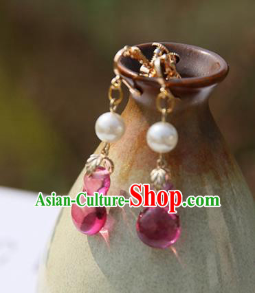 Chinese Handmade Ancient Jewelry Accessories Rosy Beads Eardrop Hanfu Earrings for Women