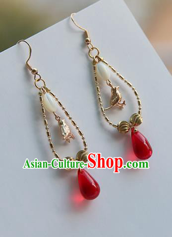 Chinese Handmade Ancient Jewelry Accessories Red Bead Eardrop Hanfu Earrings for Women