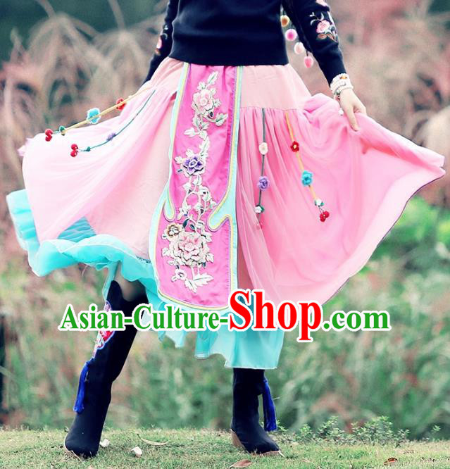 Traditional China National Costume Pink Bust Skirt Chinese Tang Suit Embroidered Dress for Women