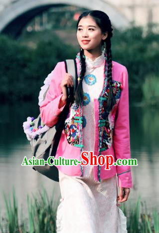 Traditional China National Costume Tang Suit Pink Coats Chinese Embroidered Jacket for Women