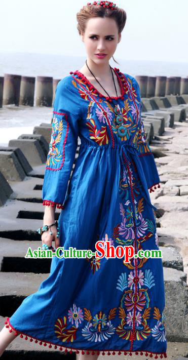 Traditional China National Costume Tang Suit Blue Dress Chinese Embroidered Dresses for Women