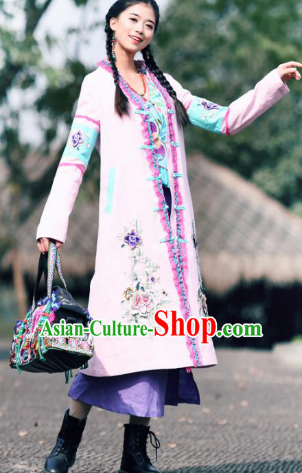 Traditional China National Costume Tang Suit Pink Dust Coat Chinese Embroidered Coats for Women