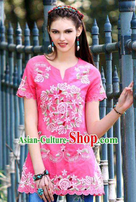 Traditional China National Costume Tang Suit Blouse Chinese Embroidered Rosy Shirts for Women
